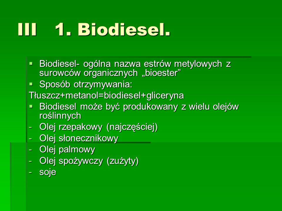 """III 1. Biodiesel.Biodiesel- ogólna nazwa estrów metylowych z surowców organicznych """"bioester Sposób otrzymywania:"""