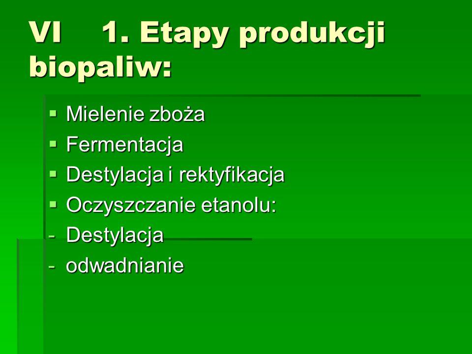 VI 1. Etapy produkcji biopaliw: