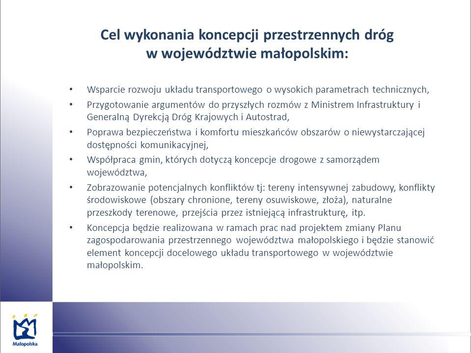 Cel wykonania koncepcji przestrzennych dróg w województwie małopolskim: