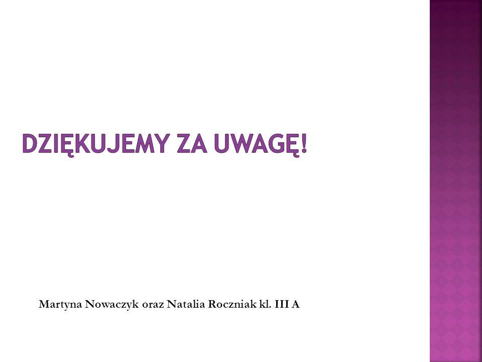Dziękujemy za uwagę! Martyna Nowaczyk oraz Natalia Roczniak kl. III A