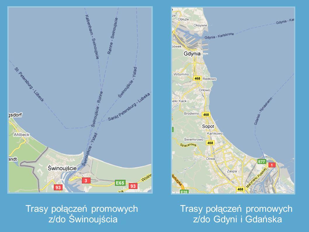 Trasy połączeń promowych z/do Świnoujścia Trasy połączeń promowych