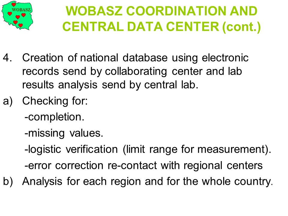 WOBASZ COORDINATION AND CENTRAL DATA CENTER (cont.)