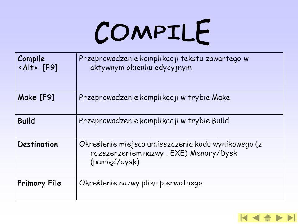 COMPILE Określenie nazwy pliku pierwotnego Primary File