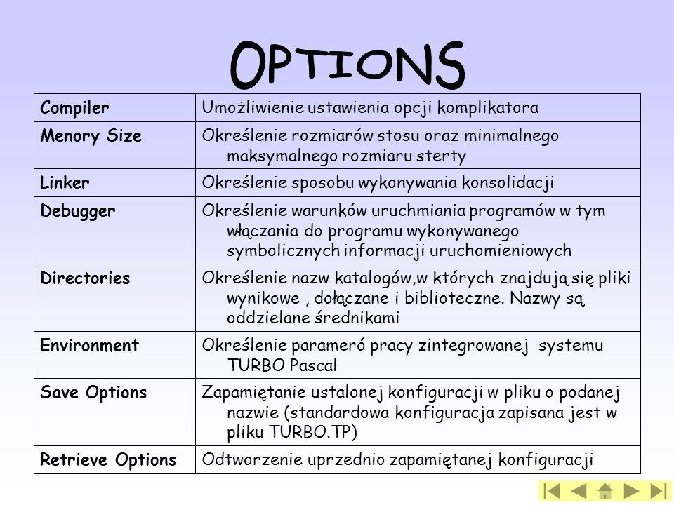 OPTIONS Odtworzenie uprzednio zapamiętanej konfiguracji