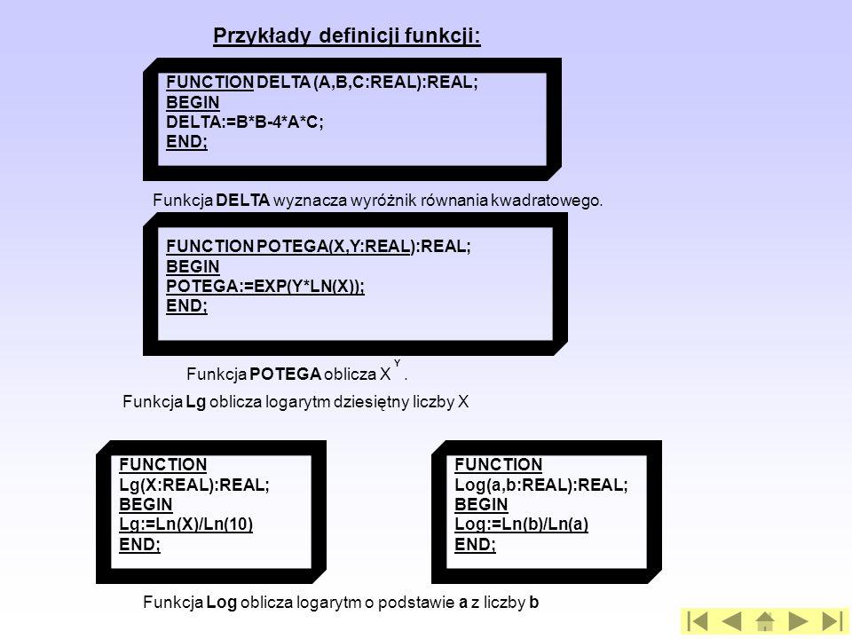 Przykłady definicji funkcji: