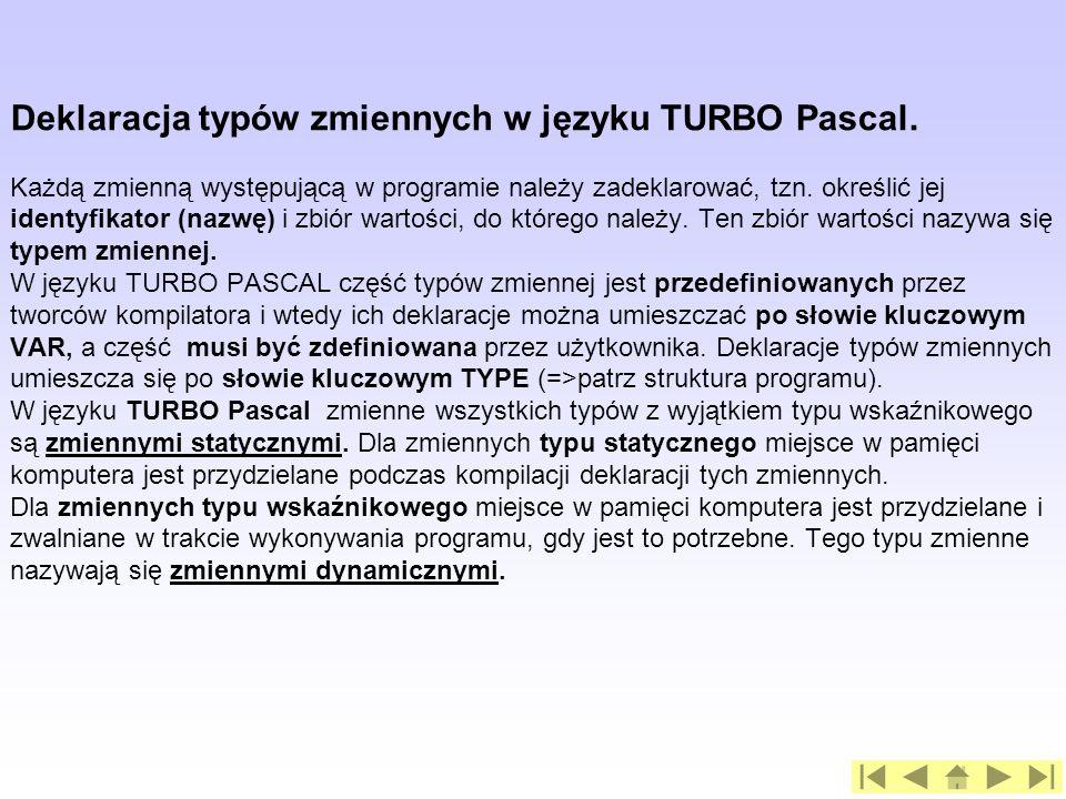 Deklaracja typów zmiennych w języku TURBO Pascal