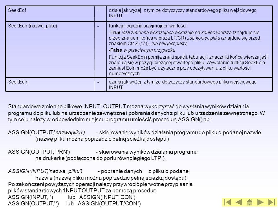 ASSIGN(OUTPUT,'PRN ) - skierowanie wyników działania programu
