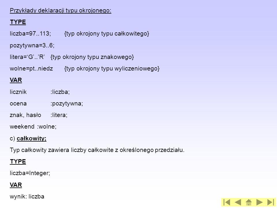 Przykłady deklaracji typu okrojonego:
