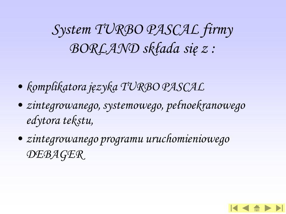 System TURBO PASCAL firmy BORLAND składa się z :