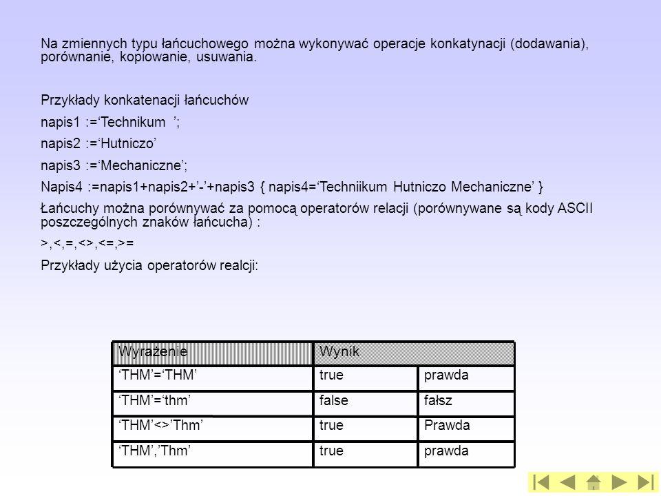 Na zmiennych typu łańcuchowego można wykonywać operacje konkatynacji (dodawania), porównanie, kopiowanie, usuwania.