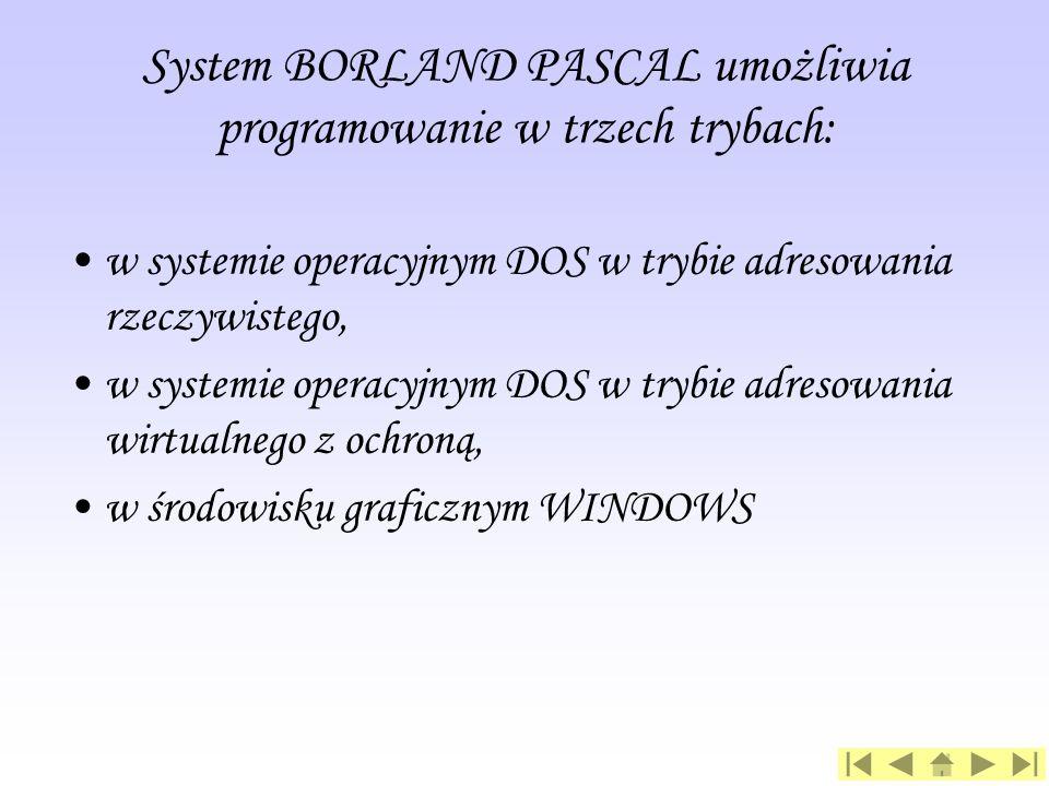 System BORLAND PASCAL umożliwia programowanie w trzech trybach: