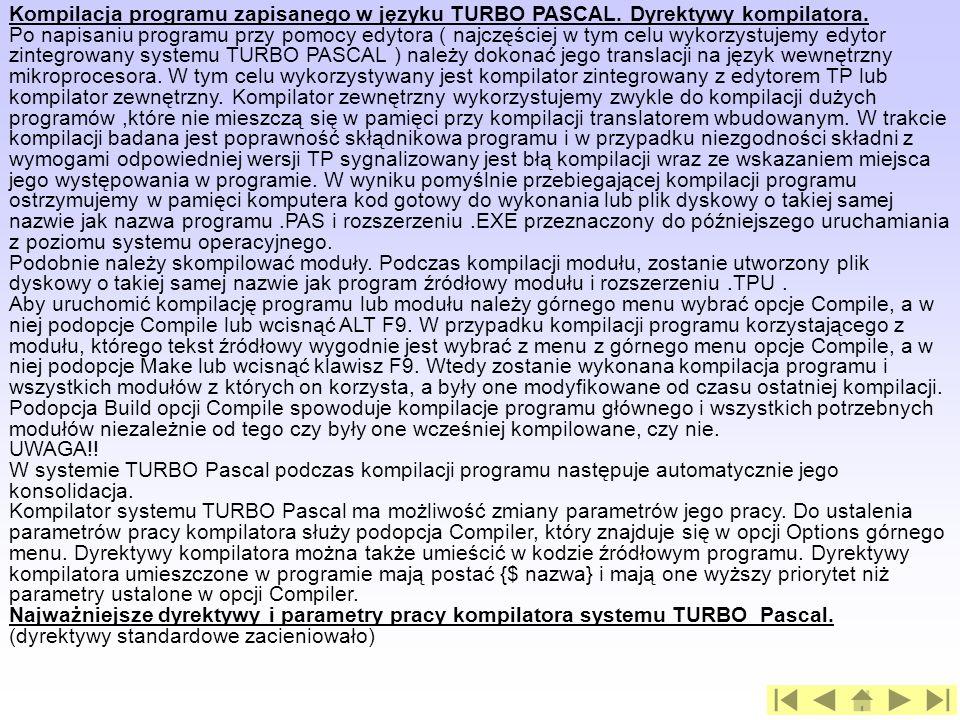 Kompilacja programu zapisanego w języku TURBO PASCAL