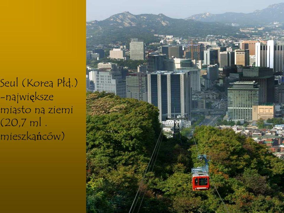 Seul (Korea Płd.) największe miasto na ziemi (20,7 ml . mieszkańców)