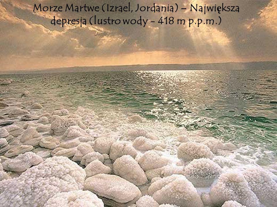 Morze Martwe (Izrael, Jordania) – Największa depresja (lustro wody - 418 m p.p.m.)