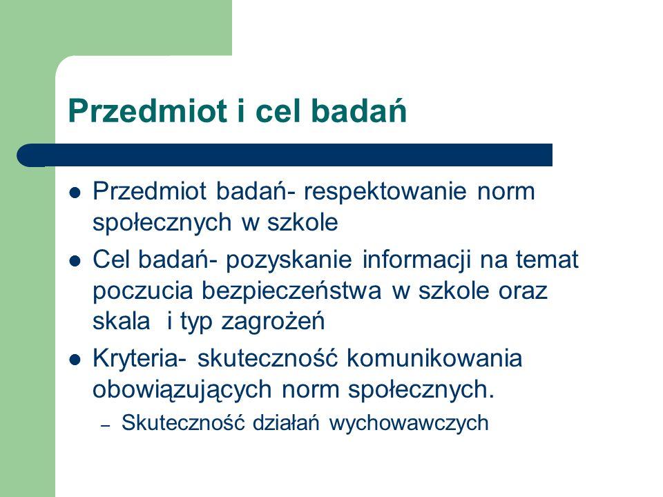 Przedmiot i cel badańPrzedmiot badań- respektowanie norm społecznych w szkole.