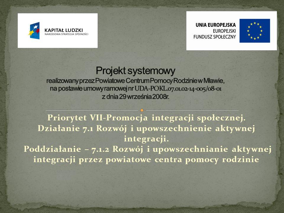 Projekt systemowy realizowany przez Powiatowe Centrum Pomocy Rodzinie w Mławie, na postawie umowy ramowej nr UDA-POKL.07.01.02-14-005/08-01 z dnia 29 września 2008r.