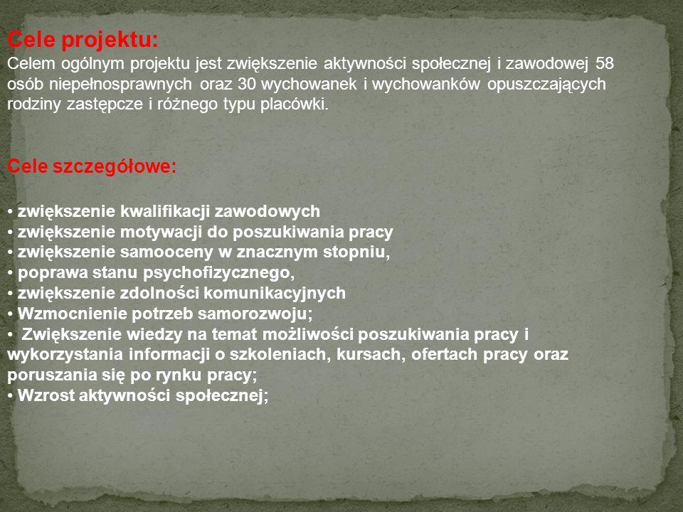 Cele projektu: Cele szczegółowe:
