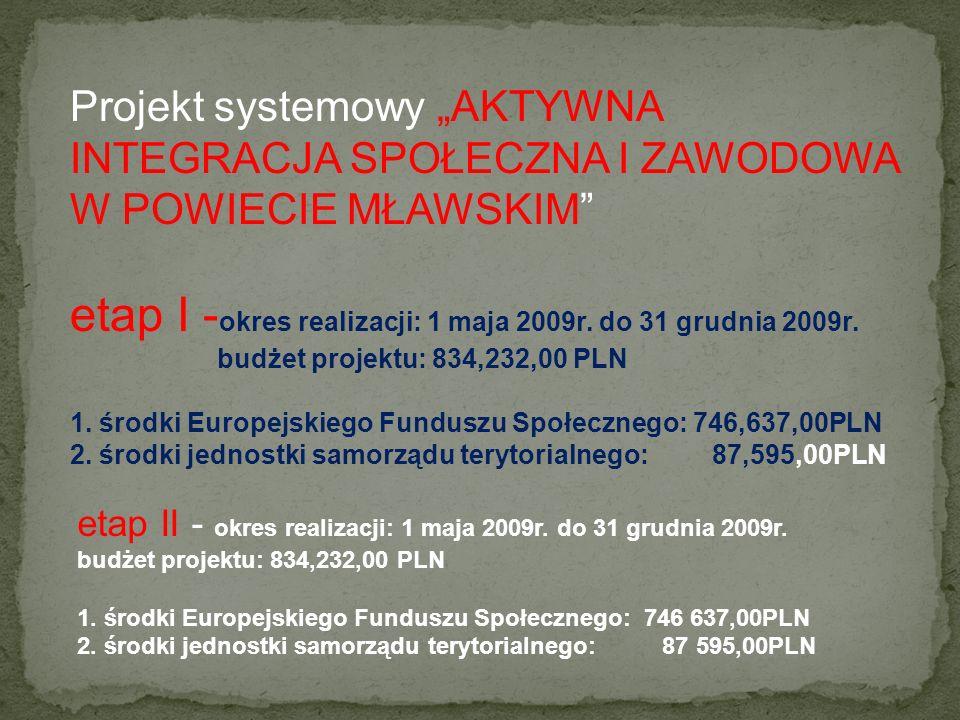 etap I -okres realizacji: 1 maja 2009r. do 31 grudnia 2009r.