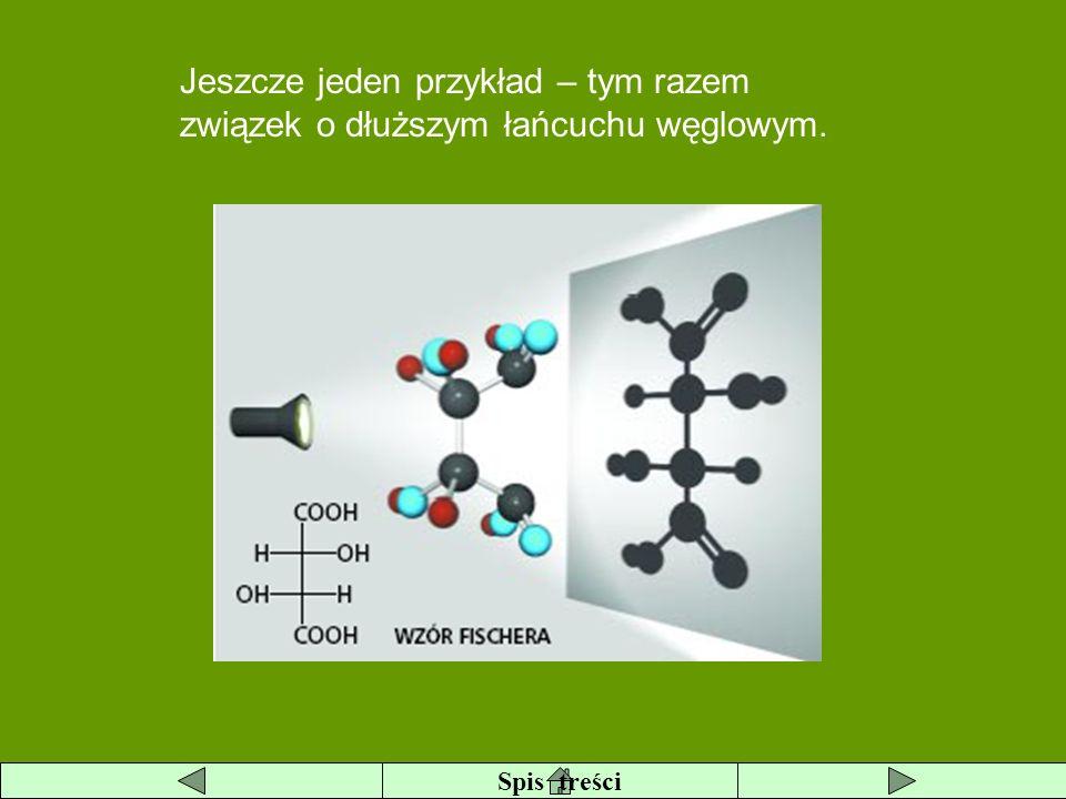 Jeszcze jeden przykład – tym razem związek o dłuższym łańcuchu węglowym.