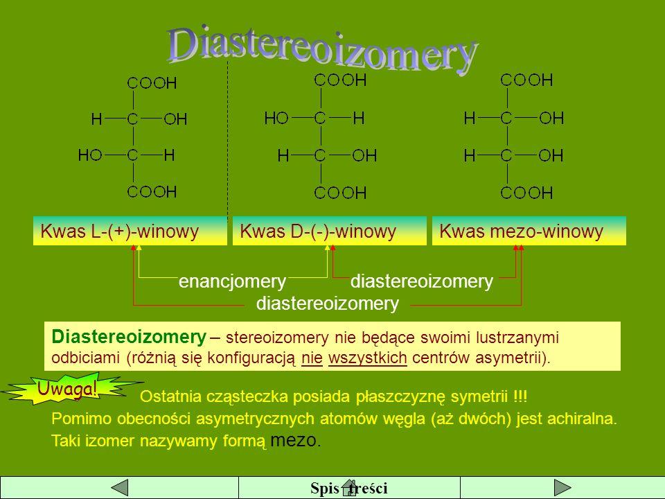 Diastereoizomery Kwas L-(+)-winowy Kwas D-(-)-winowy Kwas mezo-winowy
