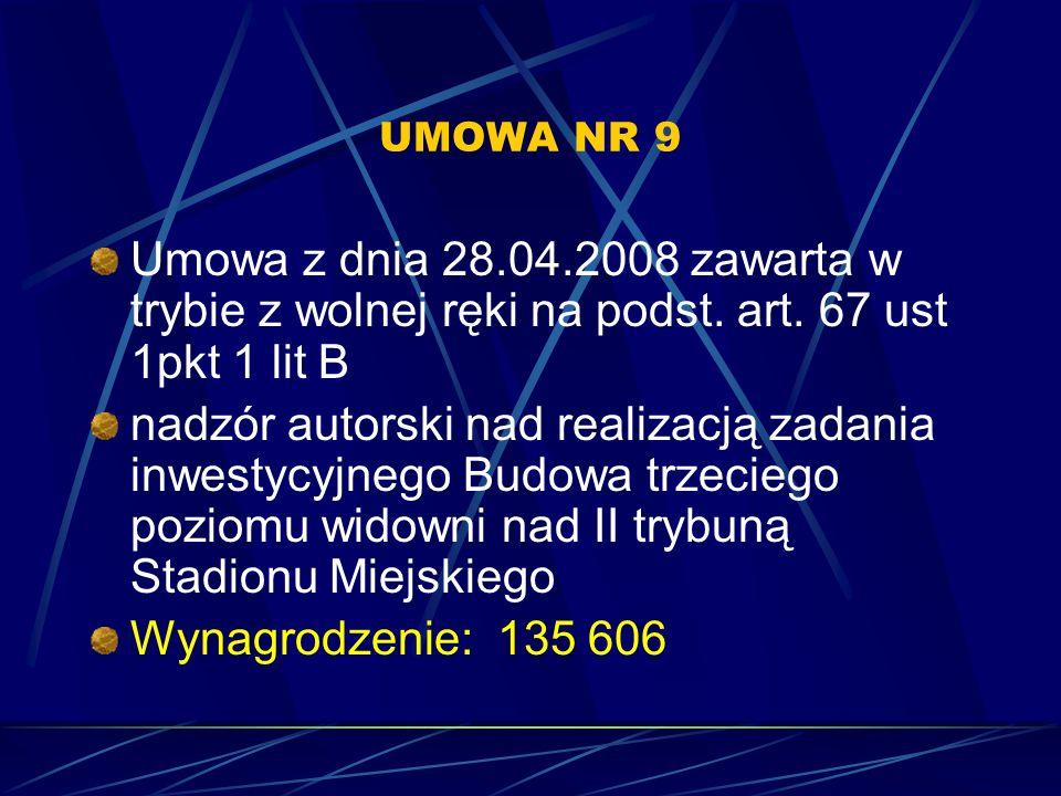 UMOWA NR 9 Umowa z dnia 28.04.2008 zawarta w trybie z wolnej ręki na podst. art. 67 ust 1pkt 1 lit B.