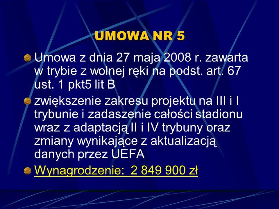 UMOWA NR 5 Umowa z dnia 27 maja 2008 r. zawarta w trybie z wolnej ręki na podst. art. 67 ust. 1 pkt5 lit B.