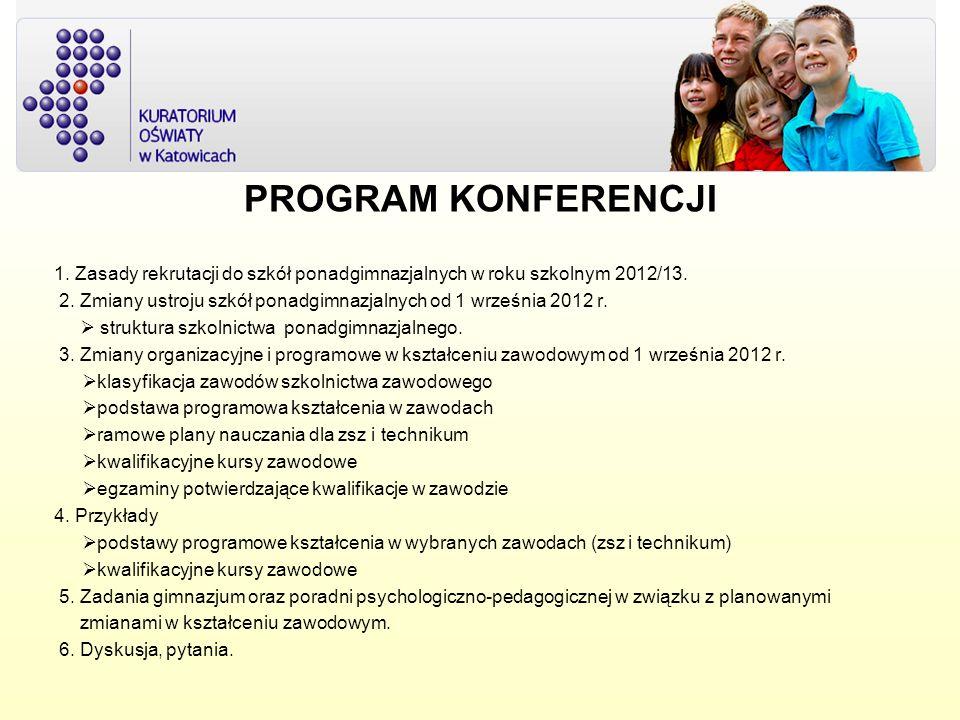 PROGRAM KONFERENCJI 1. Zasady rekrutacji do szkół ponadgimnazjalnych w roku szkolnym 2012/13.