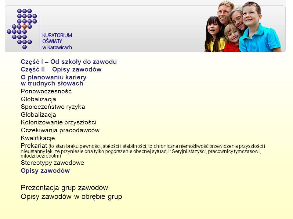 Prezentacja grup zawodów Opisy zawodów w obrębie grup