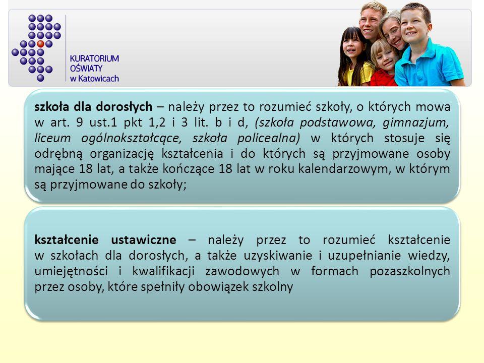 szkoła dla dorosłych – należy przez to rozumieć szkoły, o których mowa w art. 9 ust.1 pkt 1,2 i 3 lit. b i d, (szkoła podstawowa, gimnazjum, liceum ogólnokształcące, szkoła policealna) w których stosuje się odrębną organizację kształcenia i do których są przyjmowane osoby mające 18 lat, a także kończące 18 lat w roku kalendarzowym, w którym są przyjmowane do szkoły;