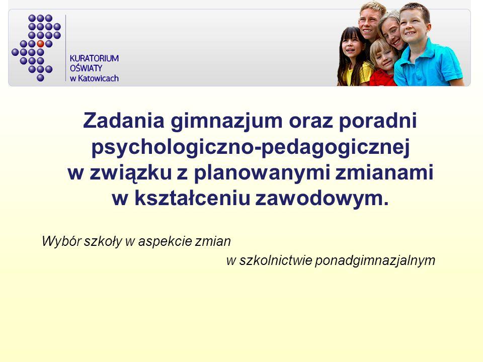 Zadania gimnazjum oraz poradni psychologiczno-pedagogicznej w związku z planowanymi zmianami w kształceniu zawodowym.
