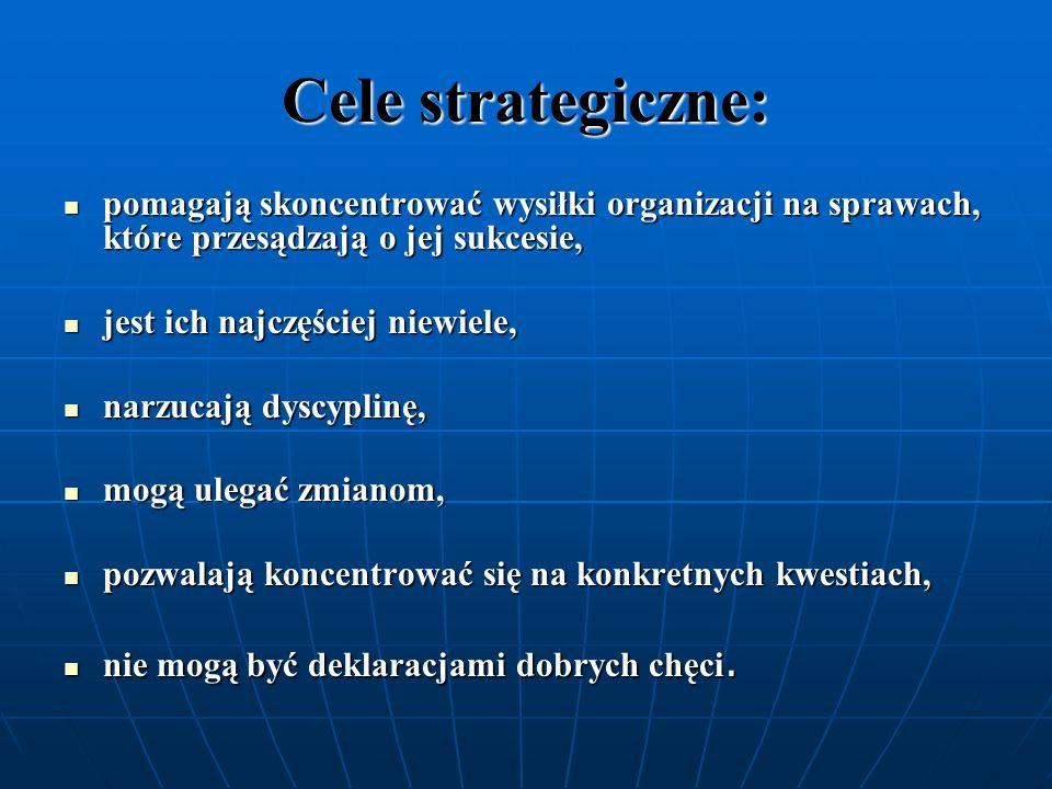 Cele strategiczne:pomagają skoncentrować wysiłki organizacji na sprawach, które przesądzają o jej sukcesie,