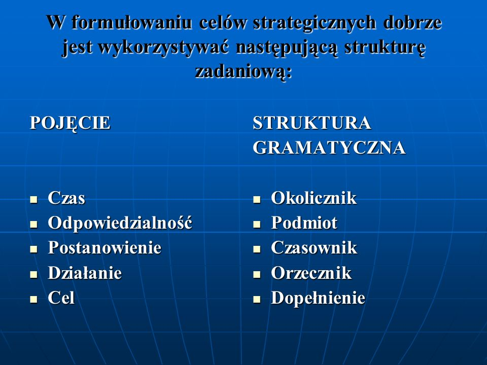 W formułowaniu celów strategicznych dobrze jest wykorzystywać następującą strukturę zadaniową: