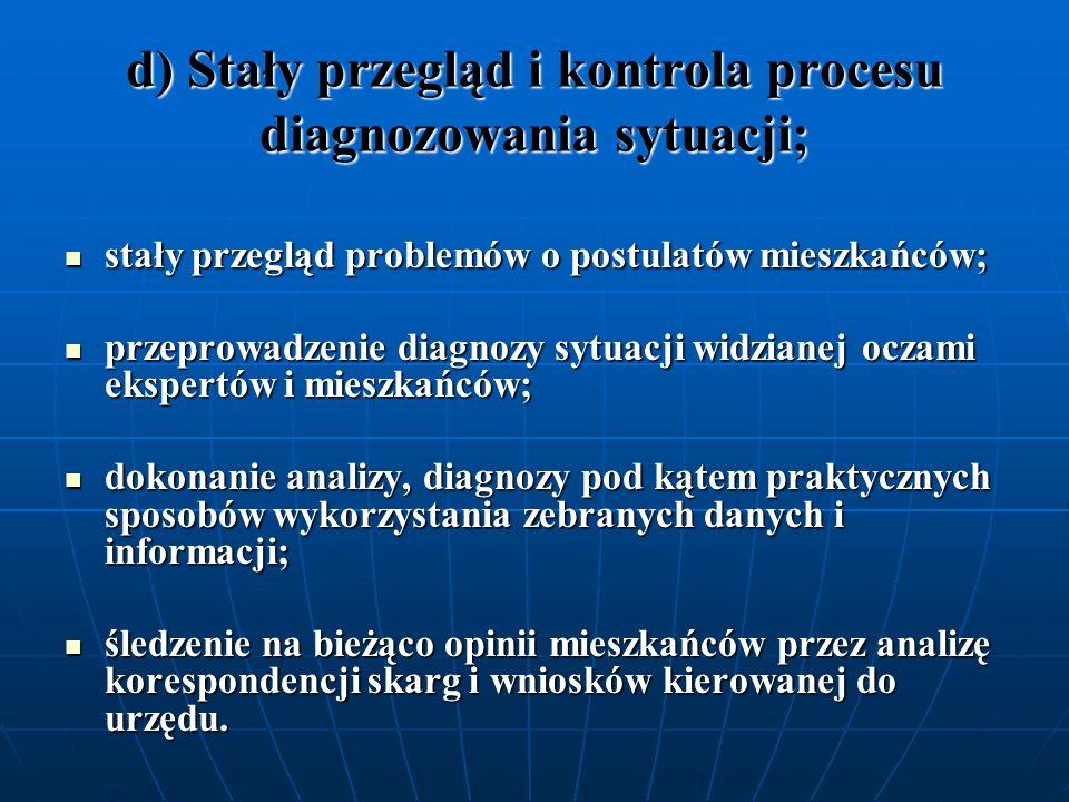 d) Stały przegląd i kontrola procesu diagnozowania sytuacji;