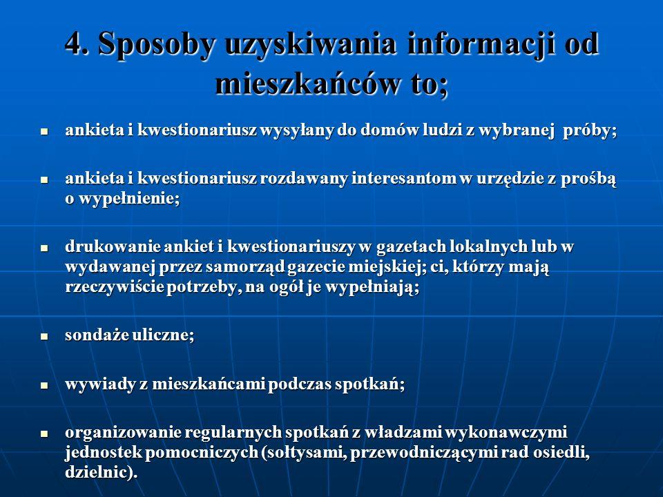 4. Sposoby uzyskiwania informacji od mieszkańców to;