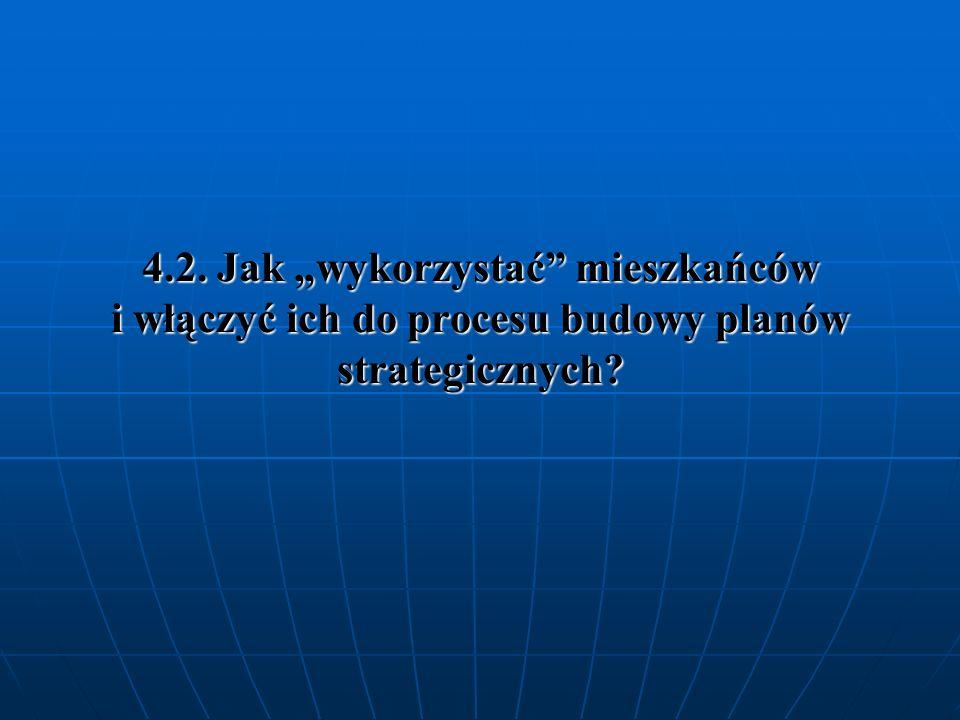 """4.2. Jak """"wykorzystać mieszkańców i włączyć ich do procesu budowy planów strategicznych"""