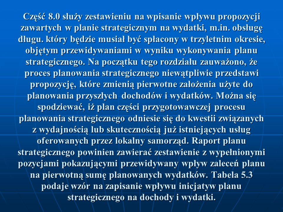 Część 8.0 służy zestawieniu na wpisanie wpływu propozycji zawartych w planie strategicznym na wydatki, m.in.