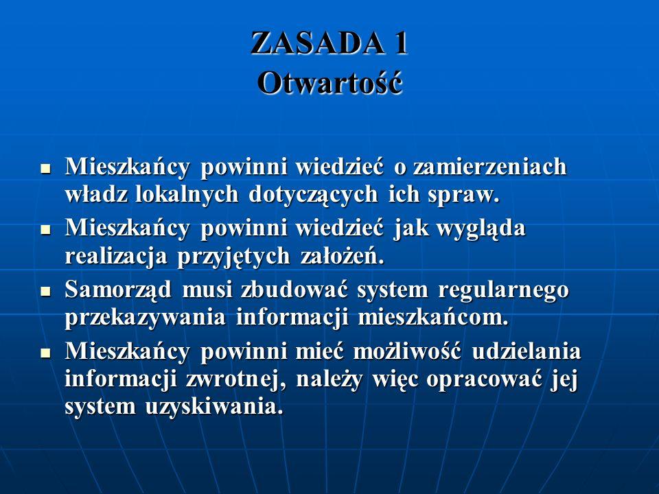 ZASADA 1 OtwartośćMieszkańcy powinni wiedzieć o zamierzeniach władz lokalnych dotyczących ich spraw.