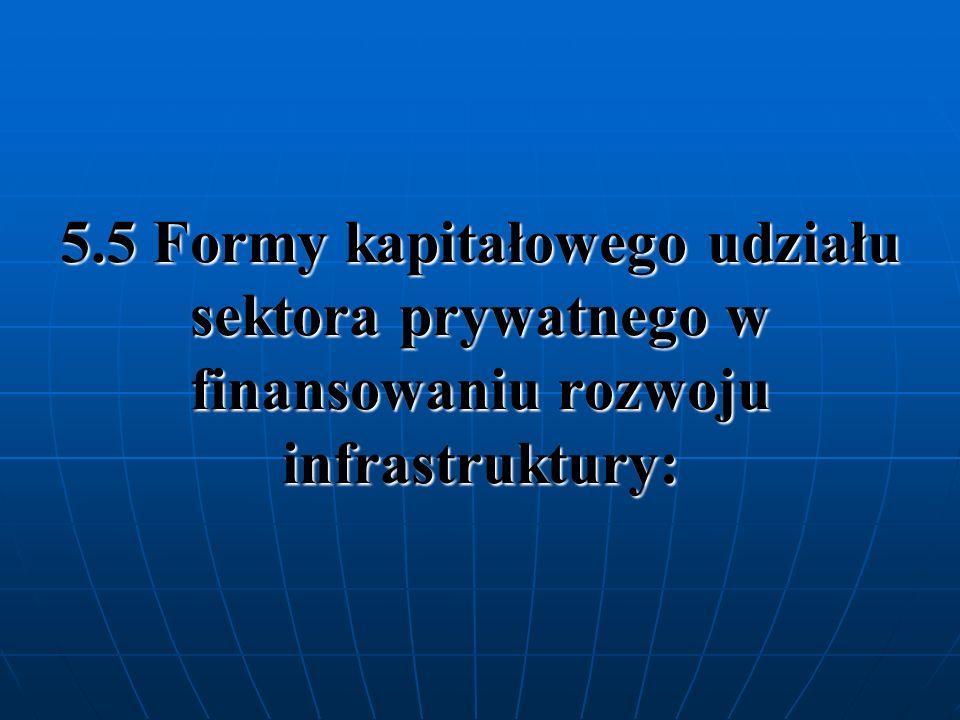 5.5 Formy kapitałowego udziału sektora prywatnego w finansowaniu rozwoju infrastruktury: