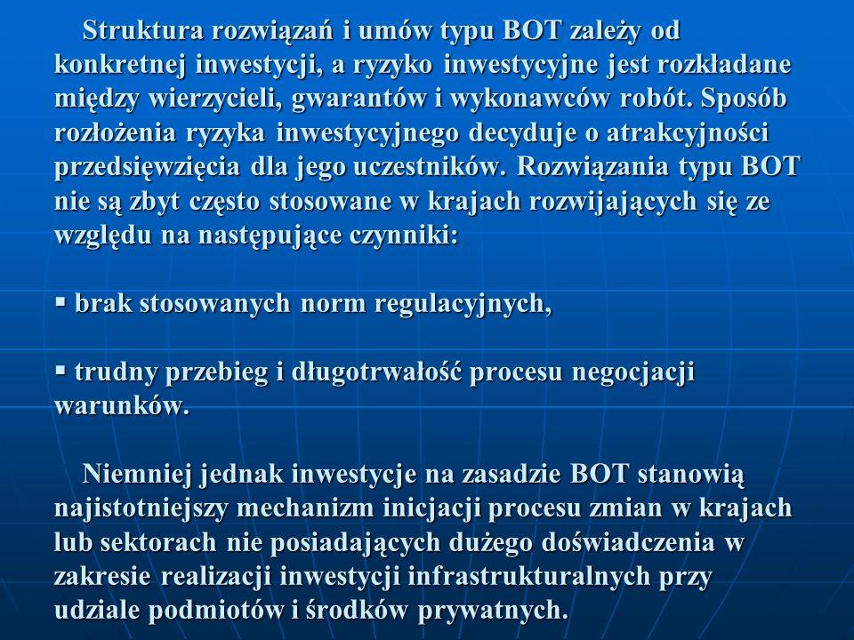 Struktura rozwiązań i umów typu BOT zależy od konkretnej inwestycji, a ryzyko inwestycyjne jest rozkładane między wierzycieli, gwarantów i wykonawców robót.