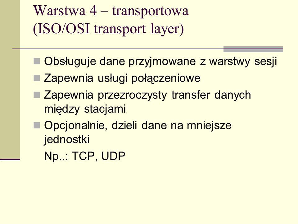 Warstwa 4 – transportowa (ISO/OSI transport layer)