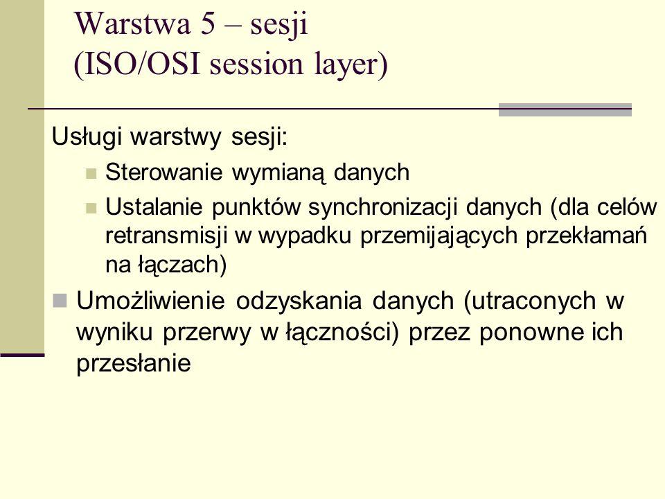 Warstwa 5 – sesji (ISO/OSI session layer)