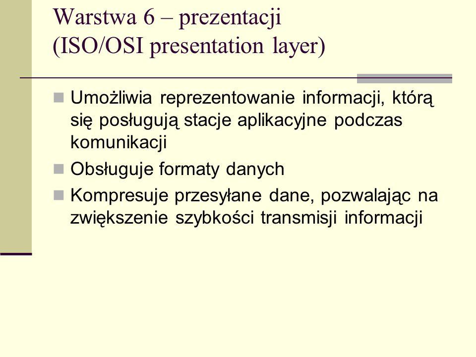 Warstwa 6 – prezentacji (ISO/OSI presentation layer)