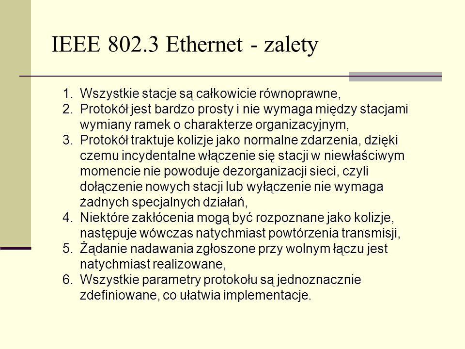 IEEE 802.3 Ethernet - zalety Wszystkie stacje są całkowicie równoprawne,