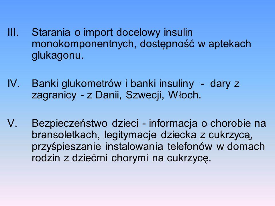 Starania o import docelowy insulin monokomponentnych, dostępność w aptekach glukagonu.