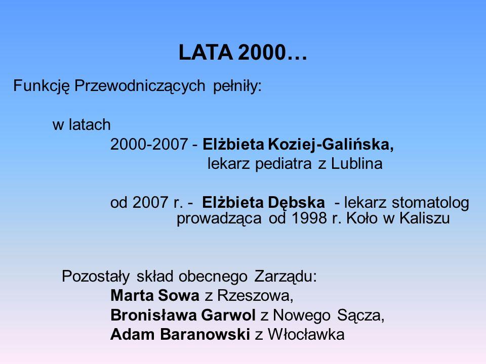 LATA 2000… Funkcję Przewodniczących pełniły: w latach