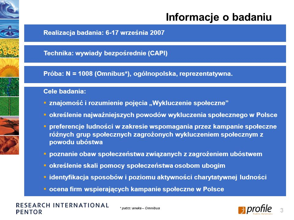 Informacje o badaniu Realizacja badania: 6-17 września 2007