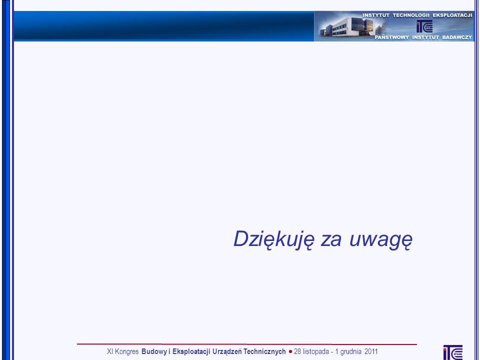 Dziękuję za uwagę XI Kongres Budowy i Eksploatacji Urządzeń Technicznych  28 listopada - 1 grudnia 2011.