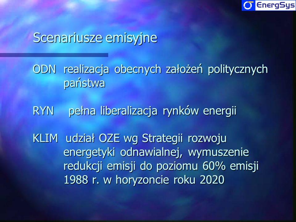 Scenariusze emisyjne ODN realizacja obecnych założeń politycznych państwa. RYN pełna liberalizacja rynków energii.
