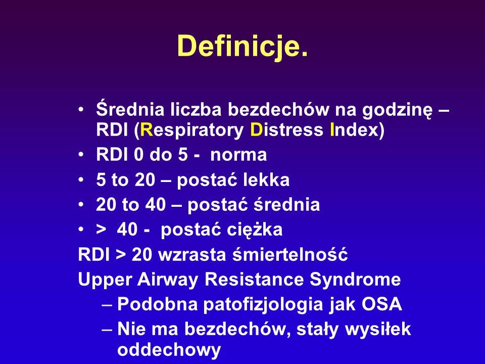 Definicje. Średnia liczba bezdechów na godzinę – RDI (Respiratory Distress Index) RDI 0 do 5 - norma.
