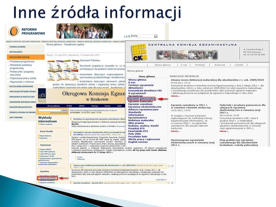 Inne źródła informacji